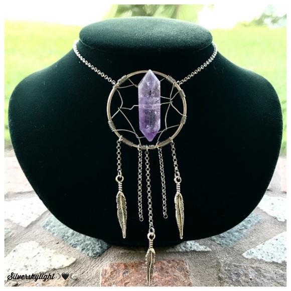 Silverskylight Jewelry - Genuine amethyst crystal dream catcher necklace